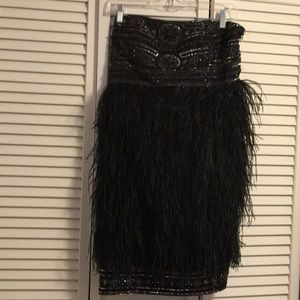Sue Wong  black feather strapless dress size 10